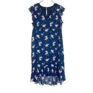 NWOT Noir Floral Flutter Sleeve High Low Dress Lrg